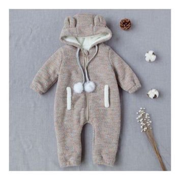 Infant Baby Boy Girl Thick Warm Rompers One-pieces Hat Ear 0-1-2 years old grey