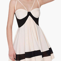 Ivory and Black Strappy Skater Mini Dress