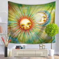 Playful Sun and Moon Artsy Tapestry Wall Hanging, 59x51in