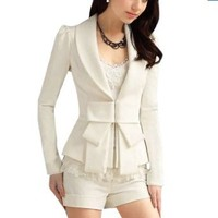 Amazon.com: Allegra K Women White Shawl Neck Bowtie Accent Long Sleeves Blazer Jacket M: Clothing