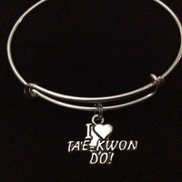 Tae Kwon Do Charm Silver Expandable Bangle Bracelet Martial Arts Handmade Trendy Gift Adjustable