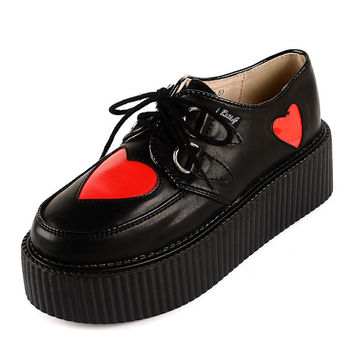2014 Fashion Love heart Pattern Leather Ladies Lace UP Flat PlatForm Fashion Sexy Women's Goth Creepers Punk Wedge Casual Handmade Shoes