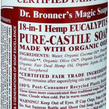 Dr. Bronner's Pure Castile Soap - Fair Trade And Organic - Liquid - 18 In 1 Hemp - Eucalyptus - 16 Oz  10% Off Auto renew
