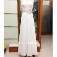 Sweetheart Neckline White Beading Long Formal Prom Dress/Evening Gown/2014 Party Dress