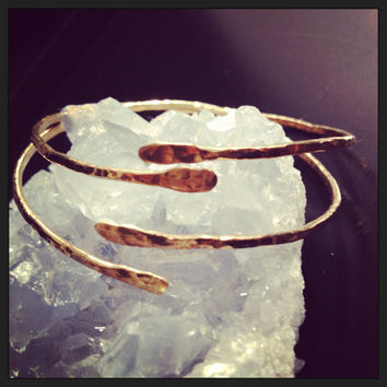Hammered Bronze Open Cuff Bangle  Upper Arm by AquarianThoughts