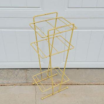 Vintage Wire Mid Century Yellow Telephone Plant Stand Table Shelf