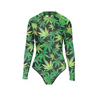 Women's Bathing Suit - Weed Leaf Print - Long Sleeved and Zippered