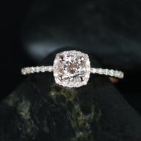 Barra Ultra Petite Size Version 14kt Rose Gold Thin Morganite Cushion Halo Engagement Ring (Other Stone and Metals Available)