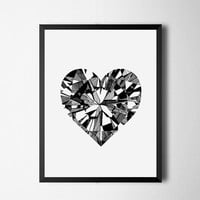 Geometric art. Diamond heart. Sketched heart. Geometric heart. Minimalist artwork. Scandinavian art. Black and white. Instant download
