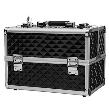 """13.5"""" Makeup Train Case Professional Cosmetic Box with Adjustable Dividers 4 Trays and 2 Locks Black"""