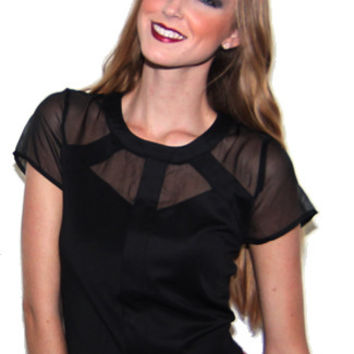 Cutting Corners Sheer Collared Top in Black