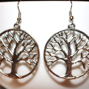 Silver Tree of Life Charm Earrings