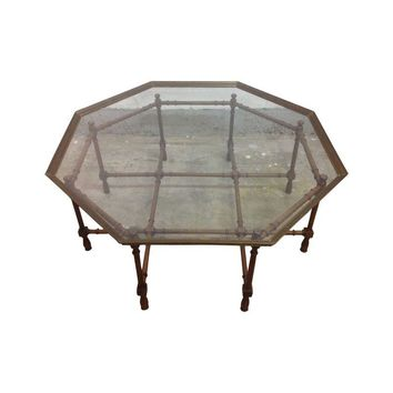 Pre-owned Brass and Faux Bamboo Coffee Table