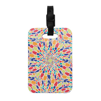 "Miranda Mol ""Flourishing Blue"" Multicolor Geometric Decorative Luggage Tag"