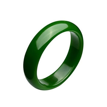 Parma77 Polished Fashion Green Nephrite Jade Bangle Spinach Green Wide Bracelet for Mother's Day Christmas (Large) 62mm