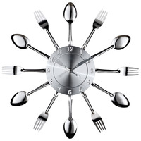 Fork and Spoon Wall Clock in Silver