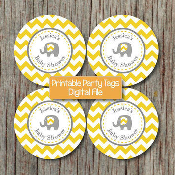 Custom Baby Shower Favor Tags Cupcake Toppers Yellow Grey Chevron Elephant Party Decorations DIY - 231