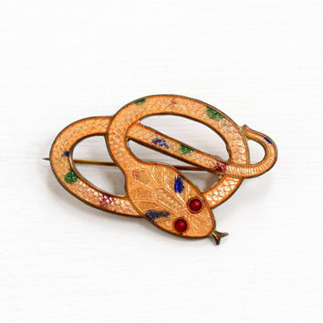 Vintage Orange Enamel Guilloche Brass Snake Brooch - Antique Art Deco 1920s Coiled Serpent Figural Reptile Costume Jewelry Pin , Red Eyes