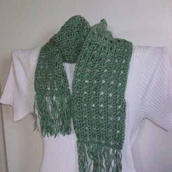 Green Fringed Scarf; Handmade Crochet; Open Lacy Pattern with Acrylic Yarn