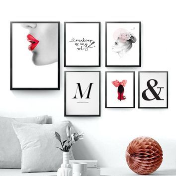 SURE LIFE Fashion Makeup Girl Decorative Canvas Paintings Letters Wall Art Pictures Posters Prints Living Room Home Wall Decor