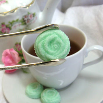 Elegant Mint Green Rose Shaped Sugar Cubes 3 dozen