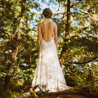 Sexy Backless Lace Gown, Wedding Gown, Ivory Wedding Dress, Open Back Gown, Low Back Dress, Boho Bride, Lace Dress, Beach Bride Dress