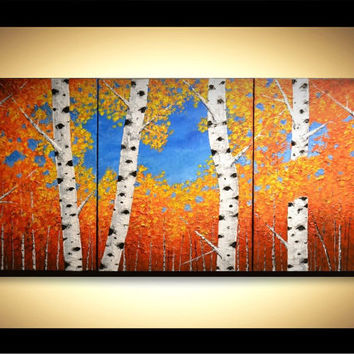 "48"" Original Modern Fine Art, Home Decor, Abstract Spring Birch Trees Acrylic Painting, Aspen Forest, Triptych Artwork, unique gift"