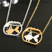 Best Friend Gift Stainless Steel Gothic Jewellery Fish Bowl Gold Cute Fish Pendant Statement Necklace Colorful Bridesmaid Wedding Jewelry