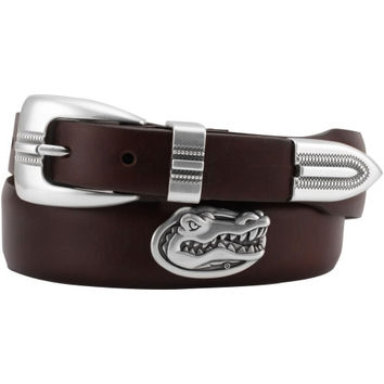 Florida Gators Saddle Leather Tapered Concho Belt with Metal Tip - Brown