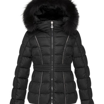 Eulali Fur-Trim Puffer Coat, Black,