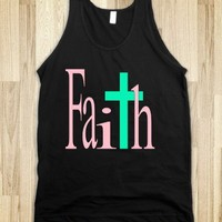 FAITH CROSS DARK TANK (PINK & MINT)