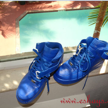 Royal Blue Mid-Top Custom Nike Air Force Ones 49a4e5798