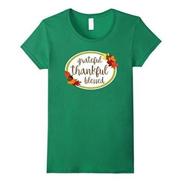 Grateful Thankful Blessed Autumn Thanksgiving T Shirt