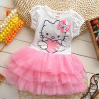 Baby/Toddler Girls Precious Hello Kitty Cat Tulle Skirt Dress Top Choose Pink, Red or Mint