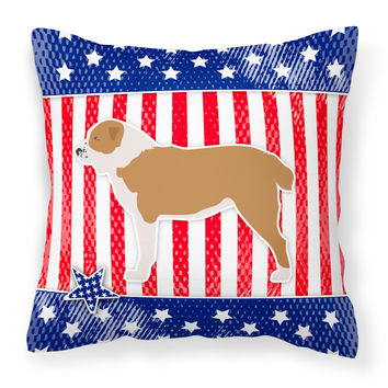 USA Patriotic Central Asian Shepherd Dog Fabric Decorative Pillow BB3328PW1818