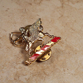 Red Enameled Gold Tone Vintage Winged Sagittarius Double Tack Pin Brooch Archer Astrology Zodiac Made in USA