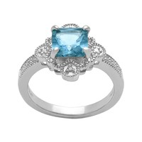 Sterling Silver Lab-Created Blue Topaz & Diamond Accent Ring