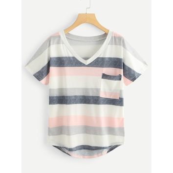 Pocket Patched Dip Hem Striped Tee