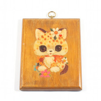 Cute Cat Picture Wall Hanging Kitsch Hippie Hipster Home Decor Big Eyed Vintage 70s