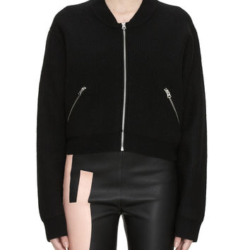Acne Studios Olympia Black Boiled Wool Front Zip Jacket