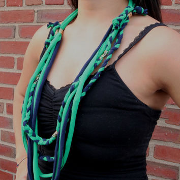 T-shirt Fabric Necklace | Pretty In Navy Green | Braids And Noodles