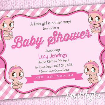 Baby Girl Baby Shower Invitation - personalized print at home digital file - digital file customised for you - pastel pink
