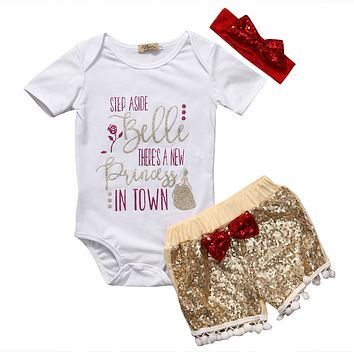 "3PC Little Girl's Outfit ""Step Aside Belle There's A New Princess In Town"""