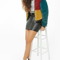 Colorblock Faux Fur & Faux Leather Jacket