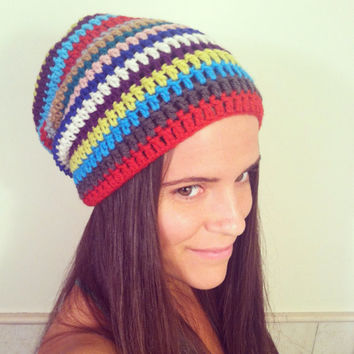 Beanie Slouchy Hat Colorful Rainbow Stripes Unisex