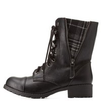 Black Plaid-Lined Lace-Up Combat Boots by Charlotte Russe