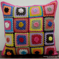 Milan CUSHION- Handmade Multi Color Crochet Cushion Cover - Sofa Pillow - Throw Pillow - Decorative Pillow -  16 x 16 Inches