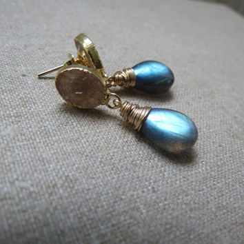 Gold Druzy and Labradorite Vermeil and Gold Filled Earrings ~ Posts