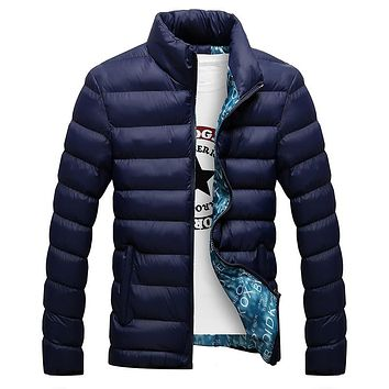 Winter Jacket Men Stand Collar Parka Jacket Solid Thick Jackets