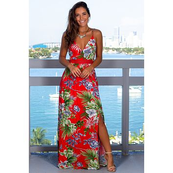 Red Floral Maxi Dress with Open Back